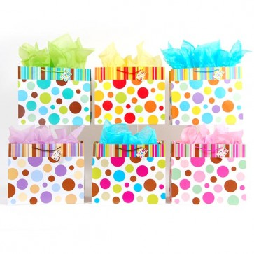 FLOMO Horizontal Jumbo Stripes and Dots Gift Bags - Assorted
