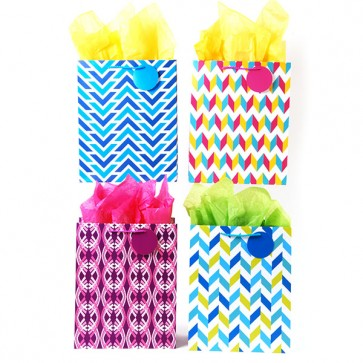 Large Wavy Geometrics Gift Bags - Assorted