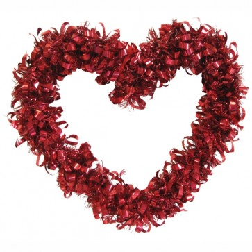 FLOMO Valentine's Day Heart Shaped Tinsel Wreath