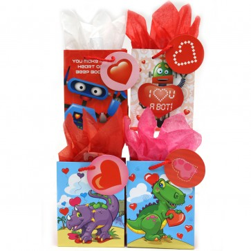 Small 'Dino Robot Valentine' Gift Bags