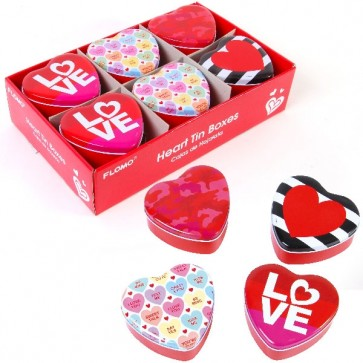 FLOMO Valentine's Day Heart Shaped Tin Box - Fashion, Conversation Hearts, 1965 LOVE
