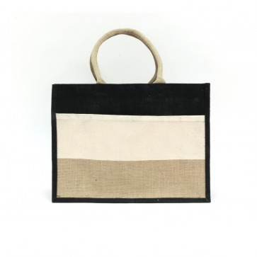 The Royal Standard Stripe Jute Burlap Pocket Tote Bag