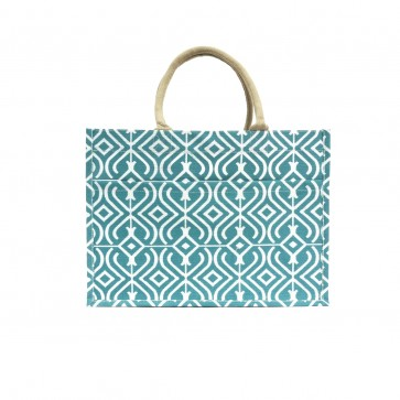 The Royal Standard Kayla Jute Burlap Pocket Tote in Turquoise/White