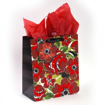 "Grande ""Red Poppies"" Rhinestone Flocking Large Luxury Gift Bags by iCOLORiS"