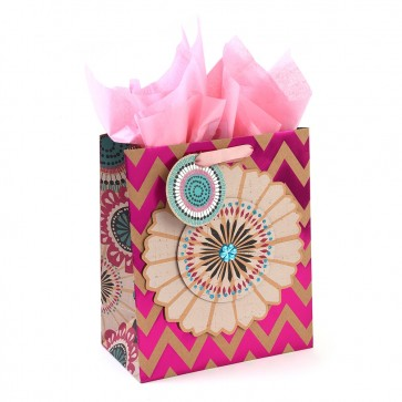 "Grande ""Chevron Floral"" Hot Stamp Large Luxury Gift Bags by iCOLORiS"