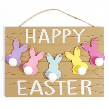 FLOMO Rustic Easter Bunny Tails Hanging Plaque