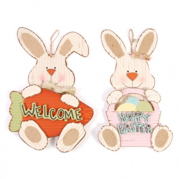 FLOMO Rustic Easter Bunny Hanging Sign