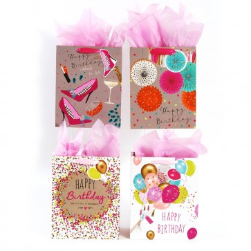 "FLOMO Large Women's ""Confetti Balloon Party"" Birthday Gift Bags"