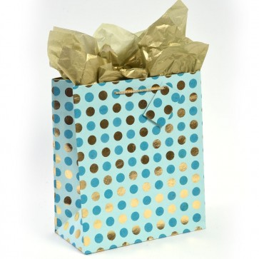 """MyGlitzzie Grande Handmade """"Two Tone Dot"""" Aqua Gold Hot Stamping Large Gift Bags"""