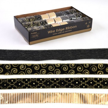 Black and Gold Wire Edge Ribbon by Holiday Essentials