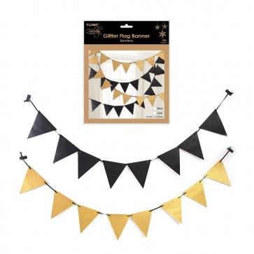 Black and Gold Pennant Bunting Banners by Holiday Essentials