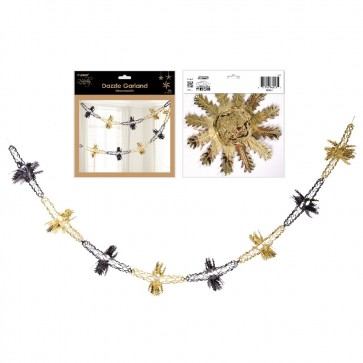 Dazzle Metallic Black and Gold Snowflake Garland by Holiday Essentials