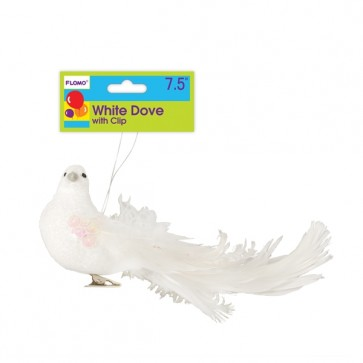 White Dove with Glitter and Clip Christmas Ornament by FLOMO