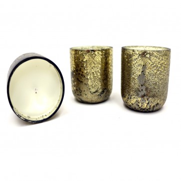 Noble Holiday Mini Luxe Sanded Mercury Glass Candle Set - Winter White