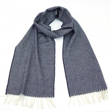 McNutt of Donegal Navy Herringbone Wool Scarf