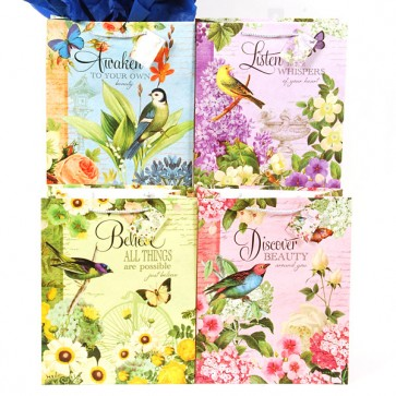 Large Bird Garden with Glitter on Matte Gift Bags