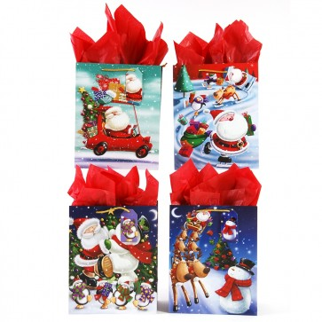 "Extra Large ""Winter Christmas Fun"" Glitter Gift Bags by FLOMO"