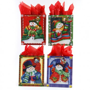 "Large ""Frosty Fellows"" Glitter Christmas Gift Bags by FLOMO"