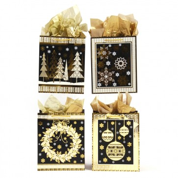 "Large ""Golden Christmas"" Hot Stamping Gift Bags by FLOMO"