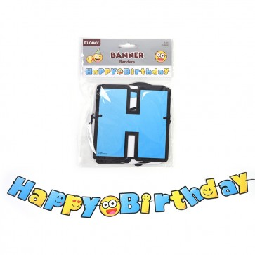 Smiley Face Happy Birthday Banner by FLOMO