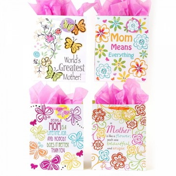 Large Love Mom Gift Bags - Assorted