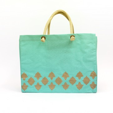 The Royal Standard Nantes Glamour Jute Burlap Tote Bag - Mint Green