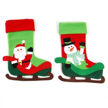 FLOMO 3D Fleece Stocking - Santa and Snowman