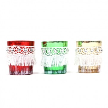 Christmas Candle Votives with Fringe by Holiday Essentials