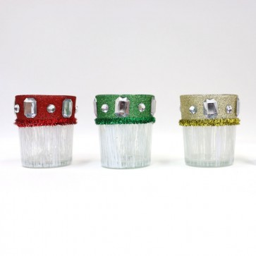 Christmas Frosted Candle Votives by Holiday Essentials