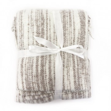 Faux Mohair Throw with Fringe - Natural by Saro Lifestyle