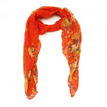 Vibrant Flowers Insect Shield Women's Summer Scarf - Coral by Tickled Pink