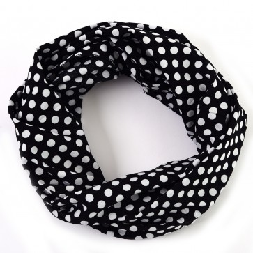 Black and White Cheerful Polka Dot Infinity Scarf by Tickled Pink
