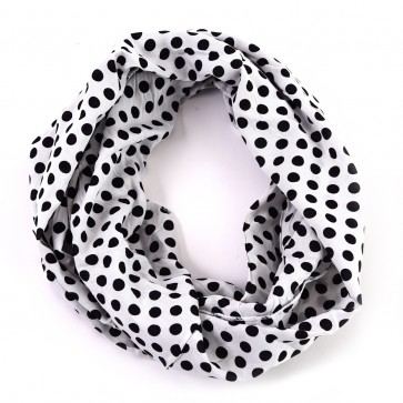 White and Black Cheerful Polka Dot Infinity Scarf by Tickled Pink