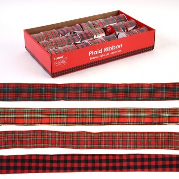 Plaid Wire Edge Christmas Ribbon by Holiday Essentials