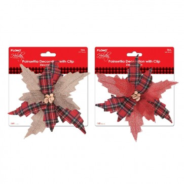 Plaid Poinsettia Christmas Floral Clip by Holiday Essentials