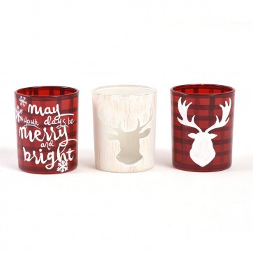 Plaid Reindeer Christmas Votive Candle Holders by Holiday Essentials