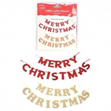 Merry Christmas Glitter Letter Banner by Holiday Essentials