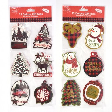 Plaid Christmas Icons Die Cut Gift Tags by Holiday Essentials