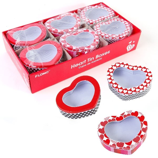 Valentine\'s Day Heart Shaped Tin Box with Clear Top - Fashion
