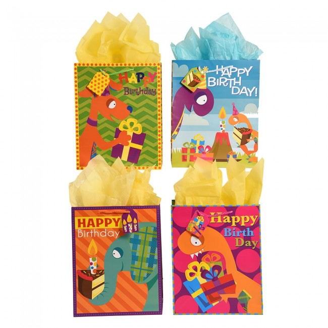 FLOMO Large Dino And Friends Birthday Gift Bags Zoom