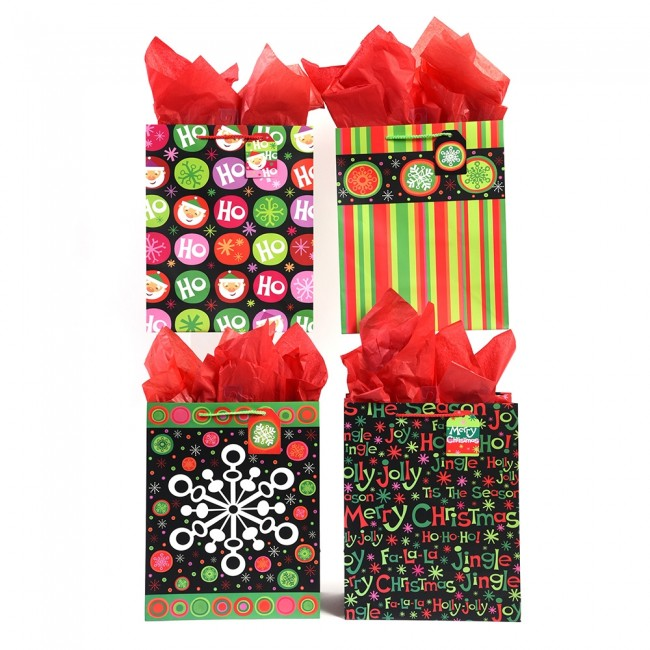 large snowflakes stripes christmas gift bags by flomo