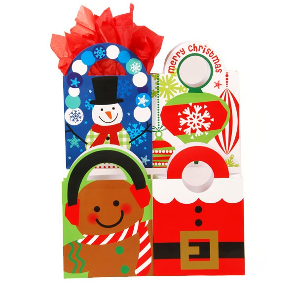 Large Hip and Happy Christmas Die Cut Gift Bags - Assorted
