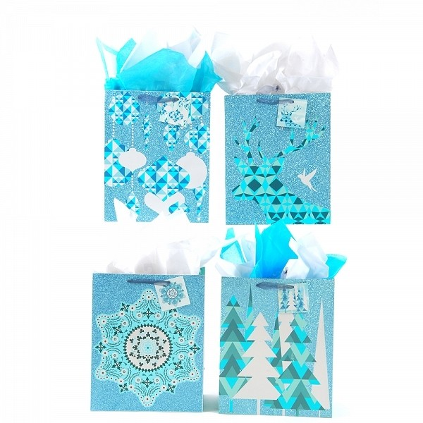 Flomo Large Blue Gold Holiday Glitter Gift Bags