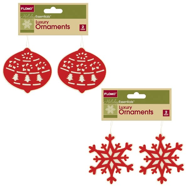 Red And White Felt Cutout Christmas Ornaments By Holiday Essentials