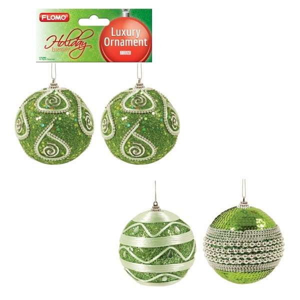 Lime Green Bejeweled Christmas Ornaments By Holiday Essentials