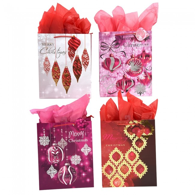 Christmas Gift Bags.Extra Large Red And Purple Opulence Hot Stamping Christmas Gift Bags By Flomo