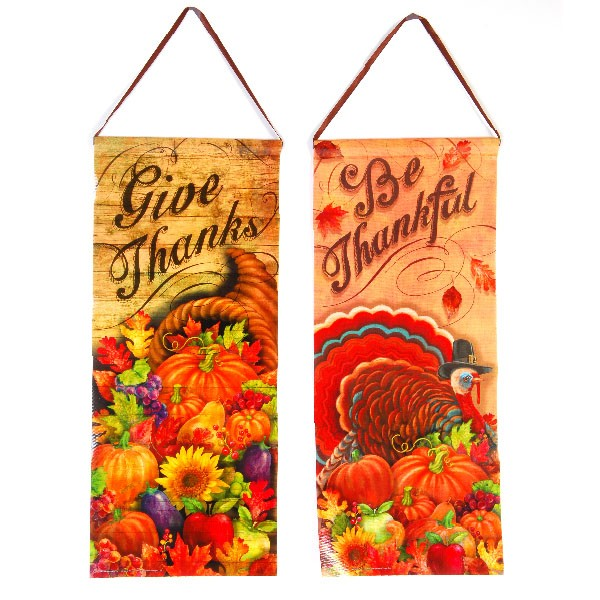 Thanksgiving Banner Part - 49: Laminated Thanksgiving Banner - Assorted