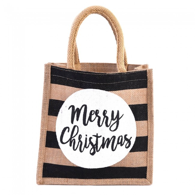 jute burlap merry christmas christmas tote bag by holiday essentials