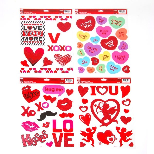 flomo valentines day window cling stickers conversation hearts fashion mustache 1965 love