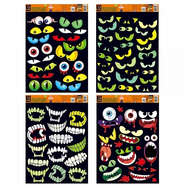 flomo halloween eyes and teeth glow in the dark window cling decorations